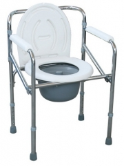 Chrome Steel Folding Hospital Commode Chair