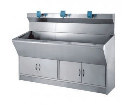 Auto-Sensing stainless steel hospital hand washing sink for three preson