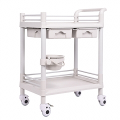 ABS material medical trolley cart with two drawer and one Bucket